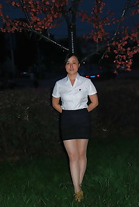 Asian women in heels, boots and pantyhose