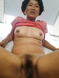 Asian sexy granny mother hairy pussy