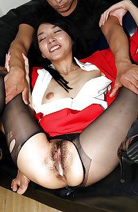 Japanese air hostess creampie fuck