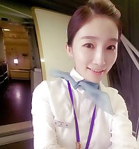 Korean air hostess takes self pics