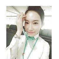 Korean air hostess takes self pics